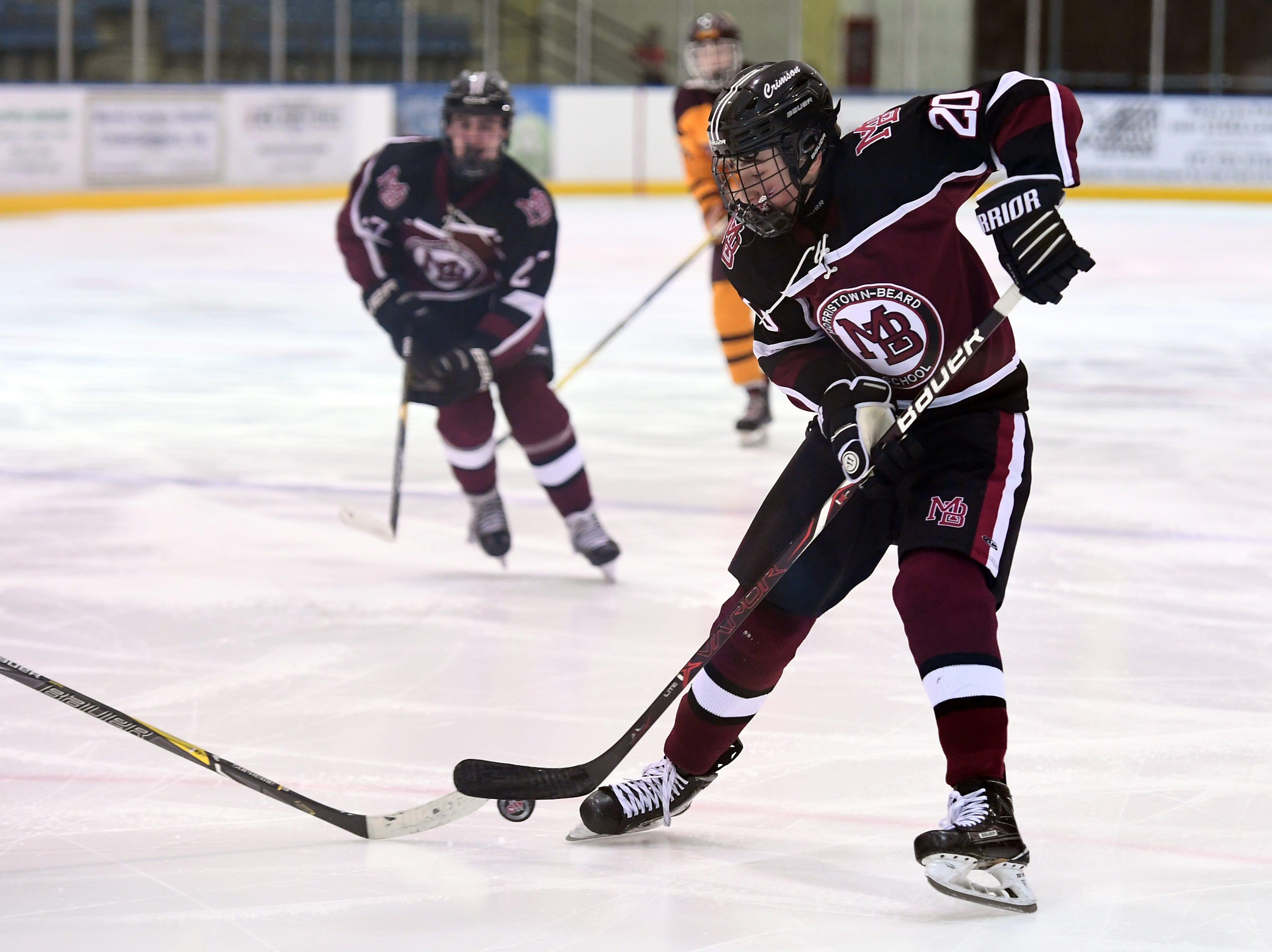 Madison ice hockey vs. Morristown-Beard at Mennen Sports Arena on Thursday, December 20, 2018. Morristown-Beard #20 Nick Vantassell.
