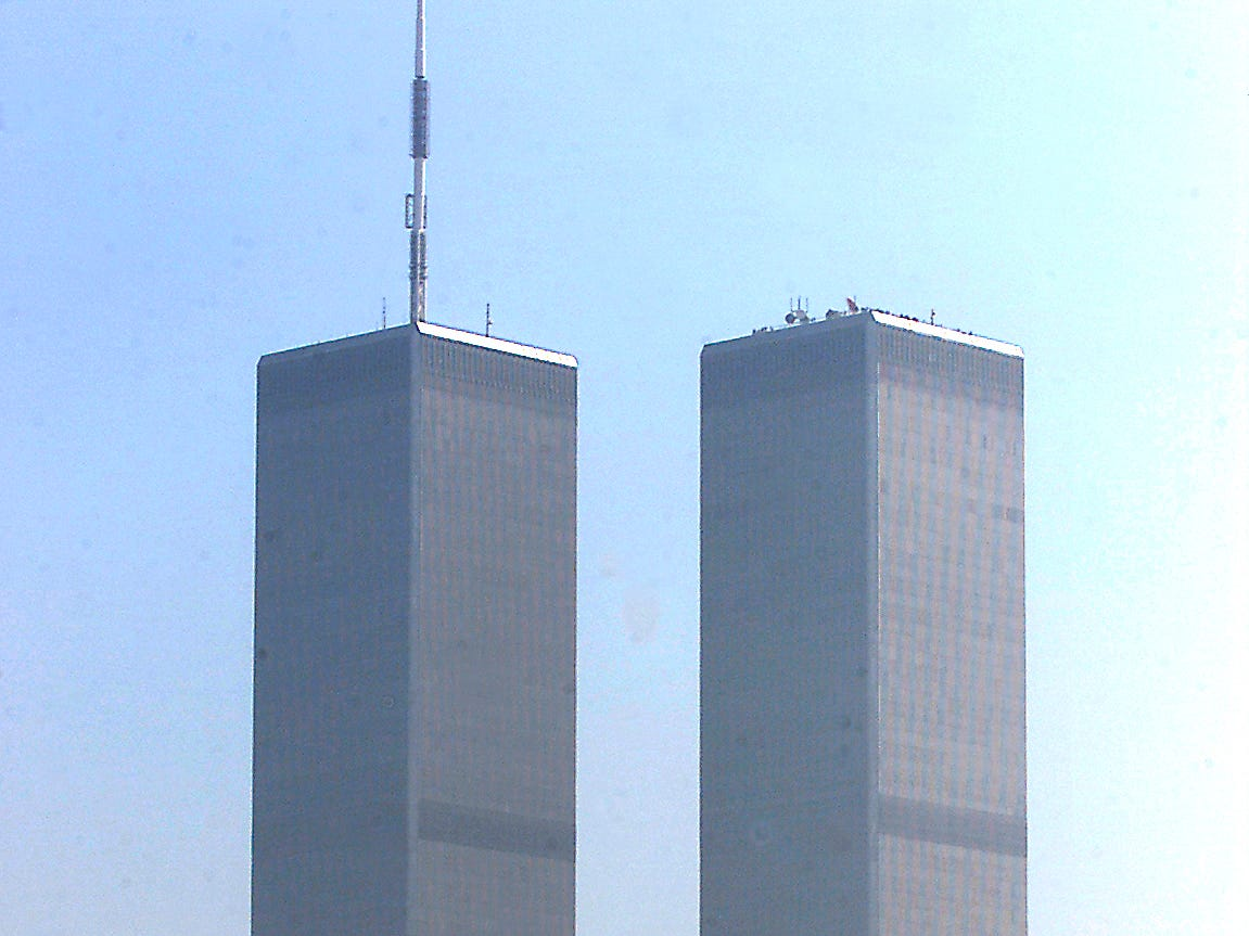 Jersey City, April 9, 2001--The World Trade Center towers from the Liberty State Park ferry dock.
