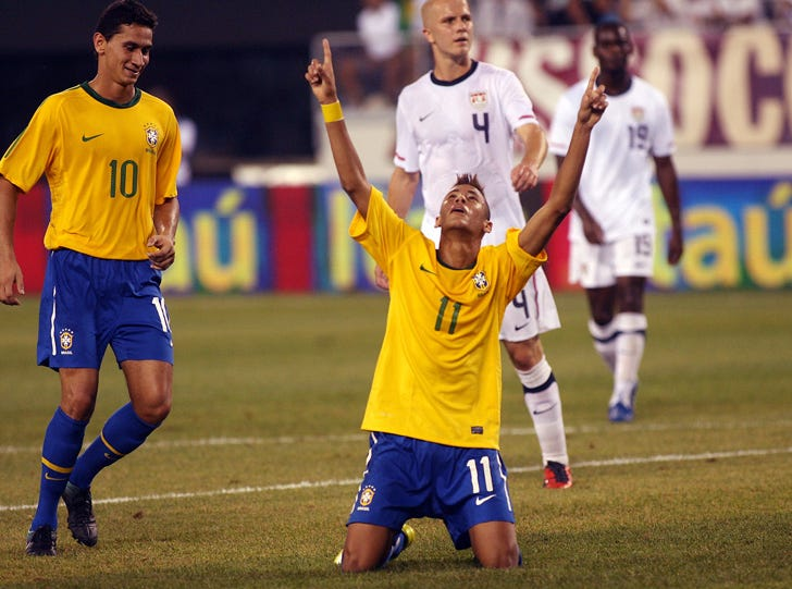 East Rutherford, August 10, 2010--Neymar, future superstar for Brazil celebrates his first goal as a player for the Brazilian National team. In the first match for both nations since a disappointing World Cup, a mostly young and largely inexperienced Brazilian team rolled over the United States 2-0 in a high-profile exhibition Tuesday night before an excited near-sellout crowd of 77,223 at the not-quite-ready $1.6 billion New Meadowlands Stadium.