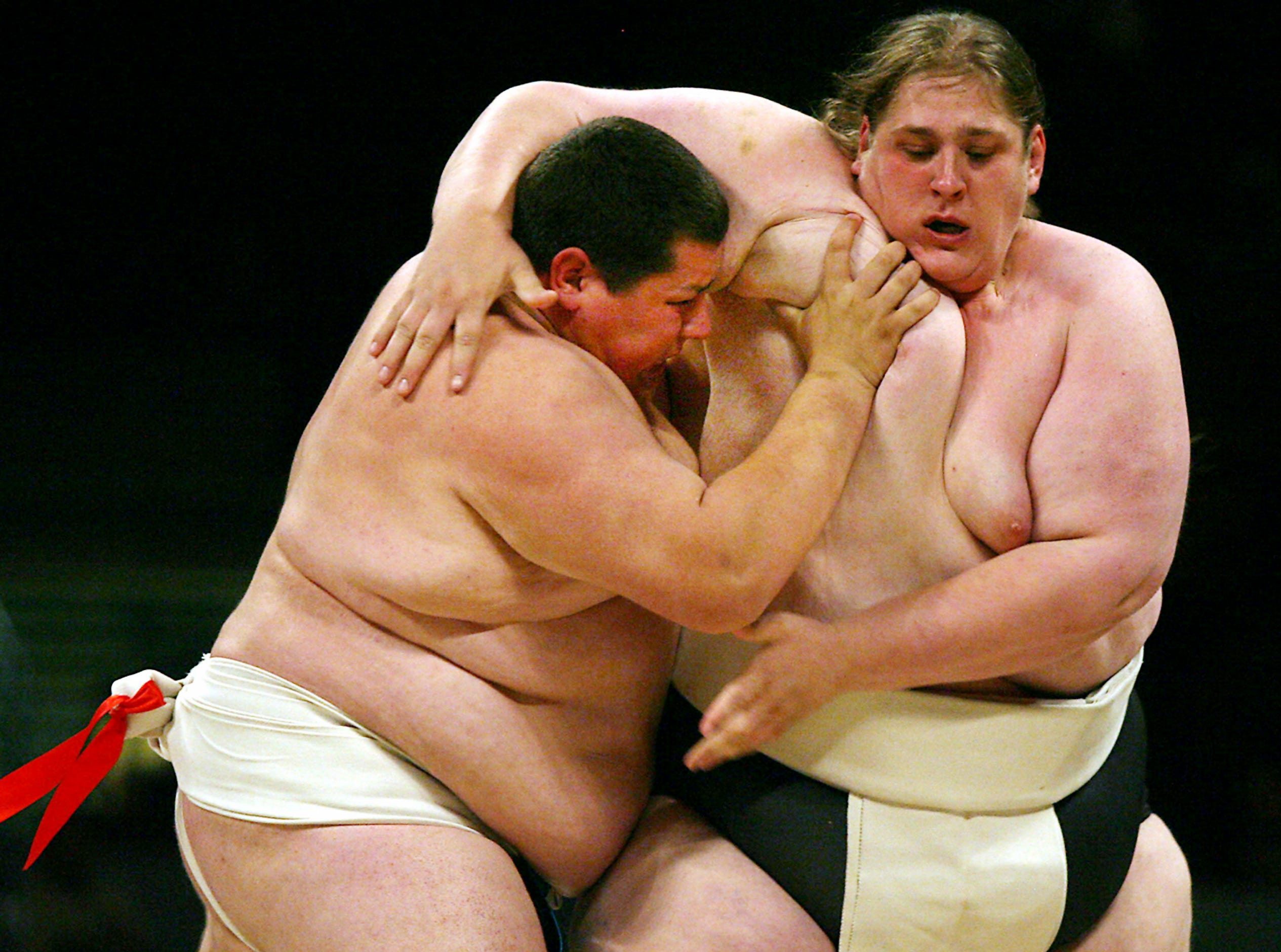 Sumo wrestlers battle it out during the World Sumo League at the Meadowlands Continental Arena. June 9, 2006, East Rutherford, NJ