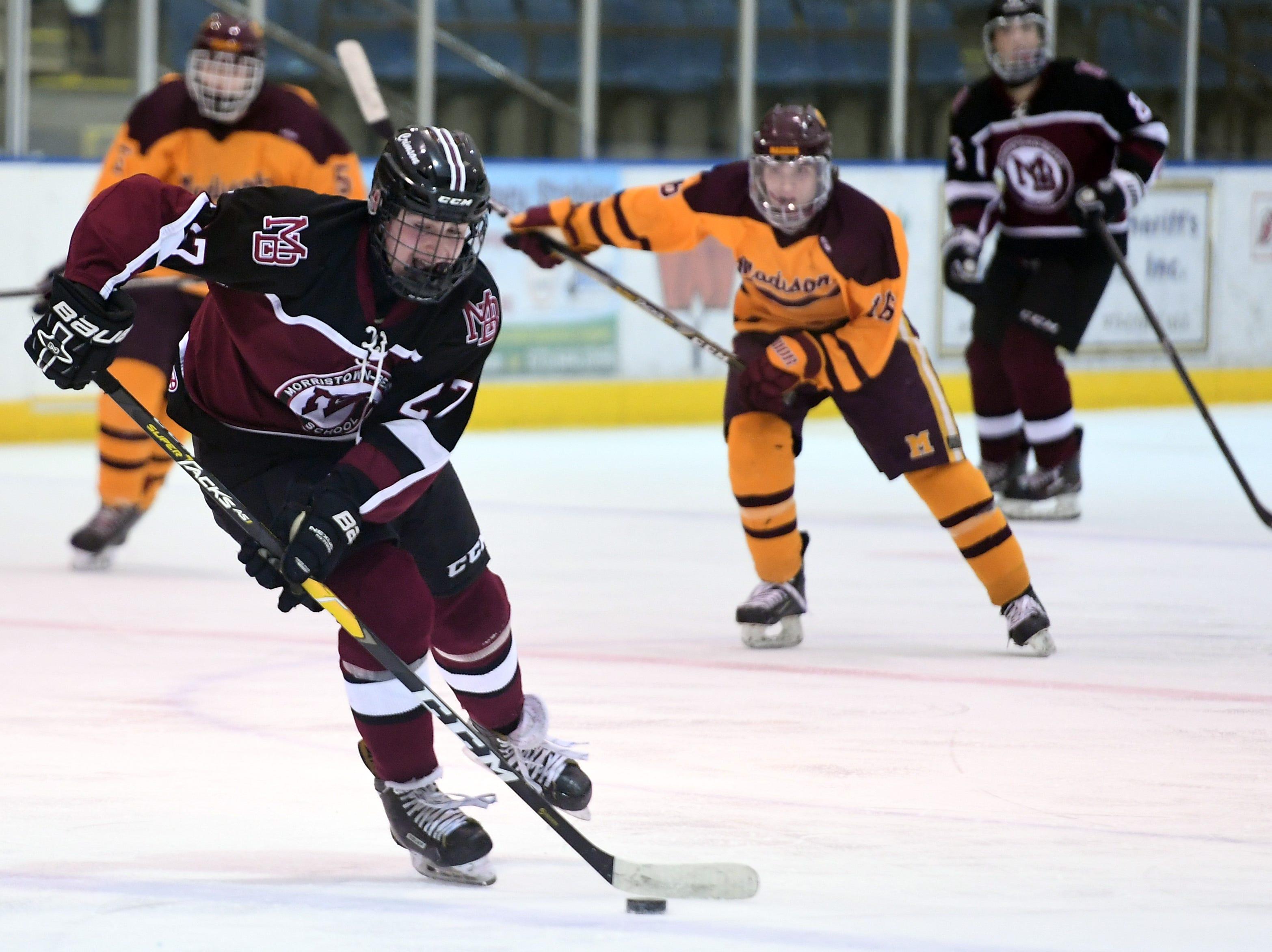 Madison ice hockey vs. Morristown-Beard at Mennen Sports Arena on Thursday, December 20, 2018. Morristown-Beard #27 Seth Kaplan.