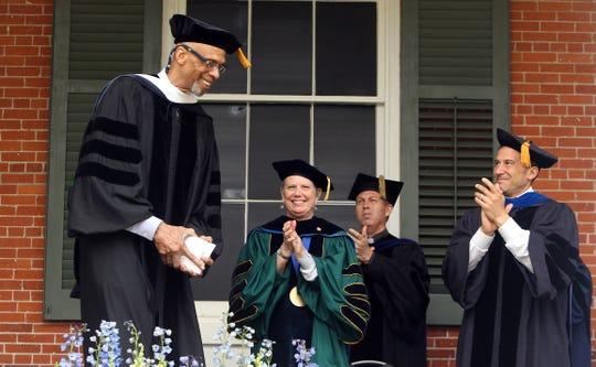 Drew University's keynote speaker Kareem Abdul Jabbar is applauded after speaking during the 148th annual commencement ceremonies. May 14, 2016. Madison, N.J.