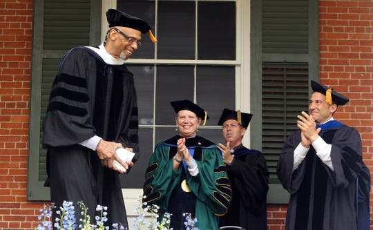 Drew University's keynote speaker Kareem Abdul Jabbar is applauded after speaking during the 148th annual commencement ceremonies. May 14, 2016. Madison, N.J.
