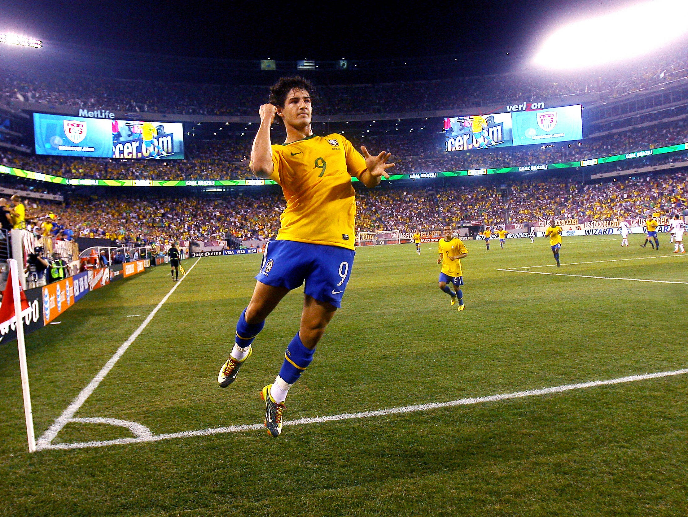 Pato, a striker for Brazil celebrates his first ever goal for the Brazilian National team at New Meadowlands Stadium vs the United States National Team.