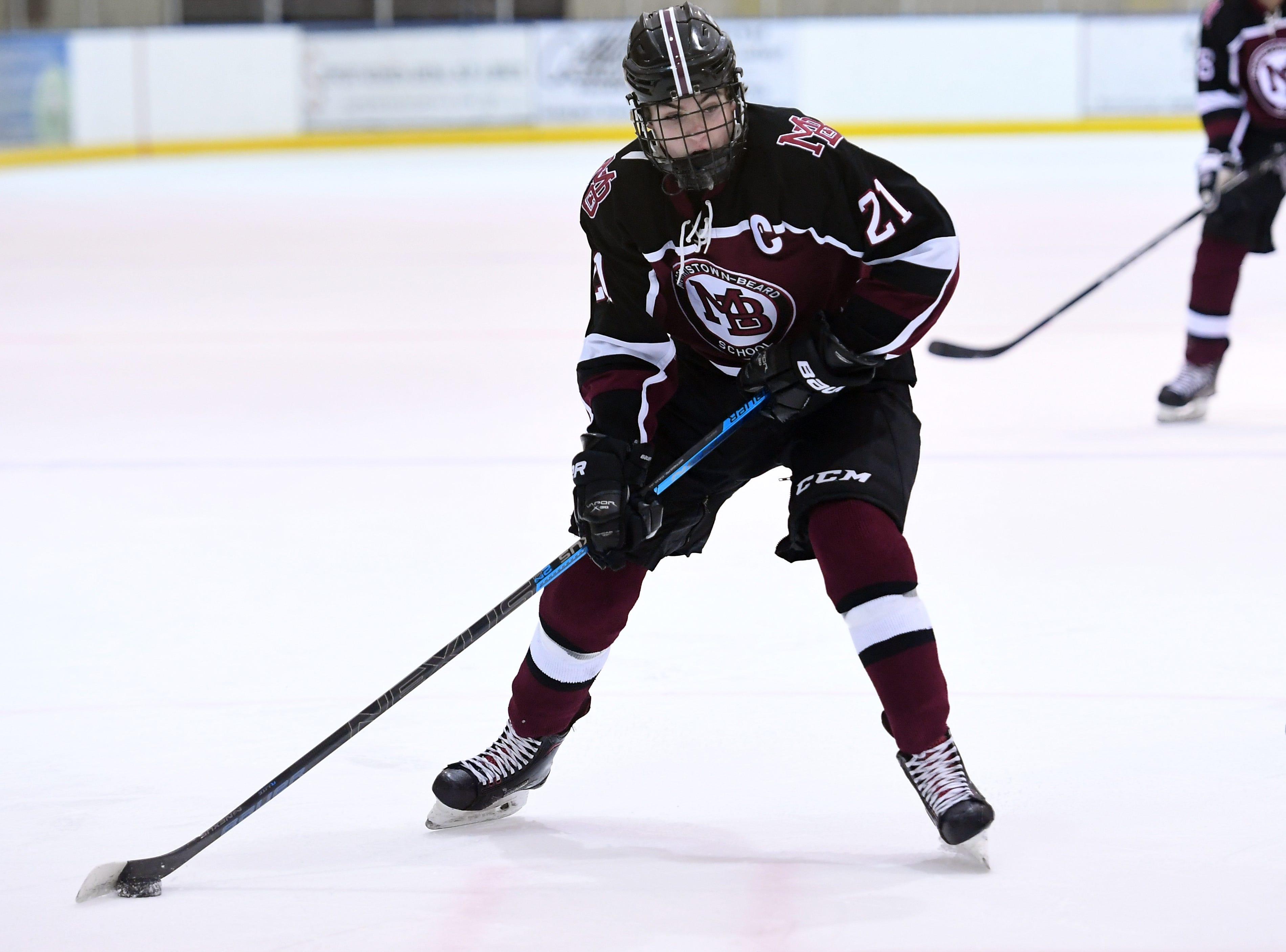 Madison ice hockey vs. Morristown-Beard at Mennen Sports Arena on Thursday, December 20, 2018.  Morristown-Beard #21 Connor Tartaglione.