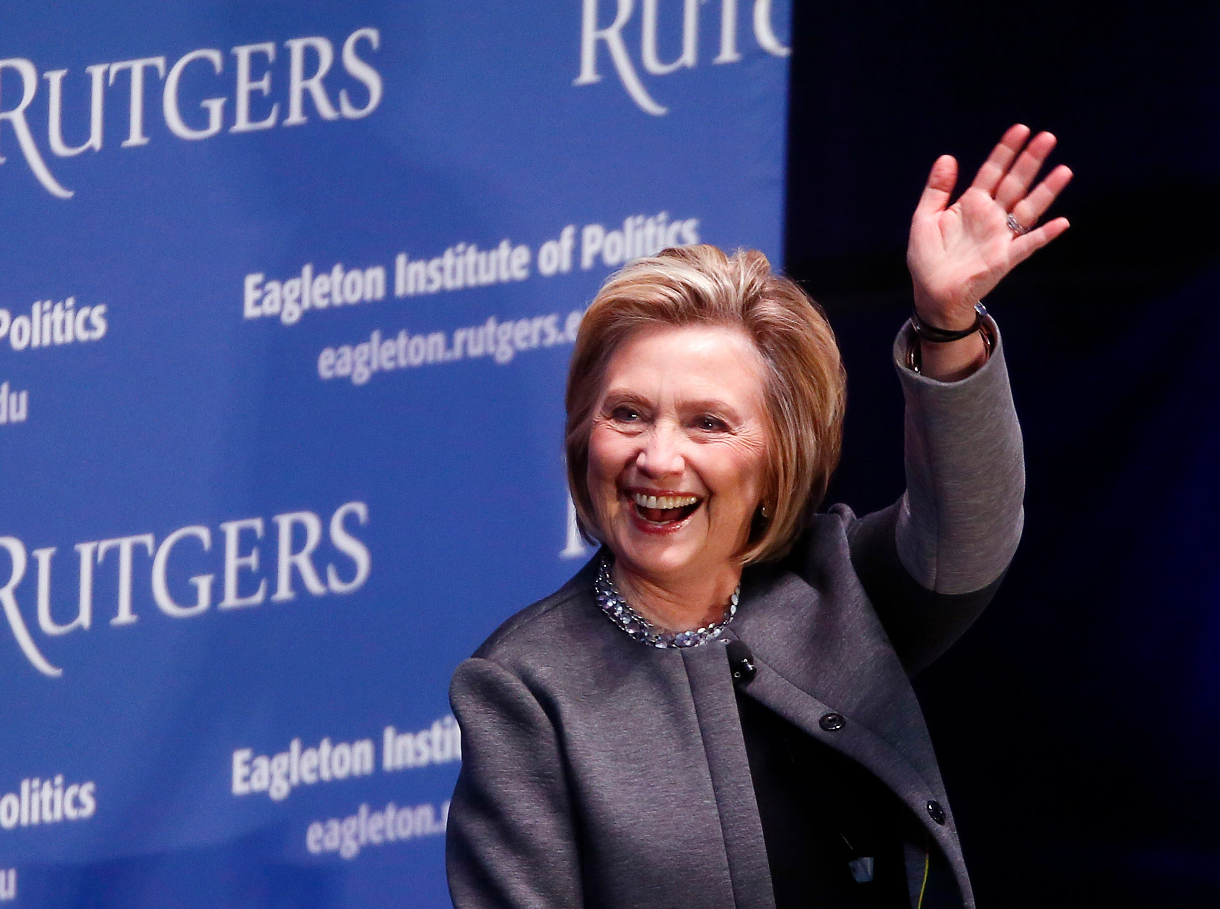 Hillary Clinton speaks with Ruth Mandel, Director, Eagleton Institute of Politics at Rutgers University, talking about politics, American democracy, her career and women's role in the political movement at the Rutgers Athletic Center, approximately 4800 attended. March 29, 2018. New Brunswick, NJ.