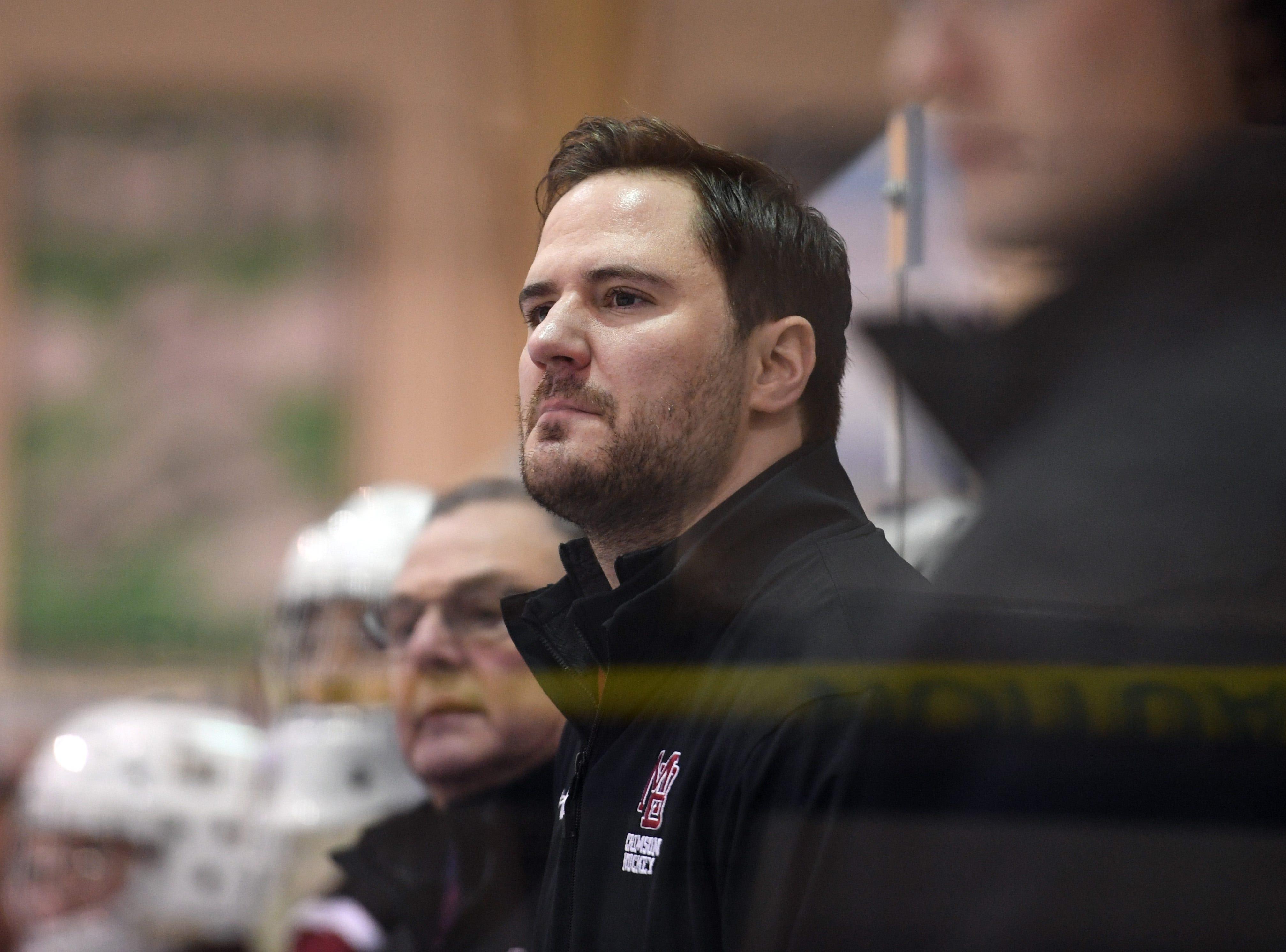 Madison ice hockey vs. Morristown-Beard at Mennen Sports Arena on Thursday, December 20, 2018. Scott Greene, Morristown-Beard coach.