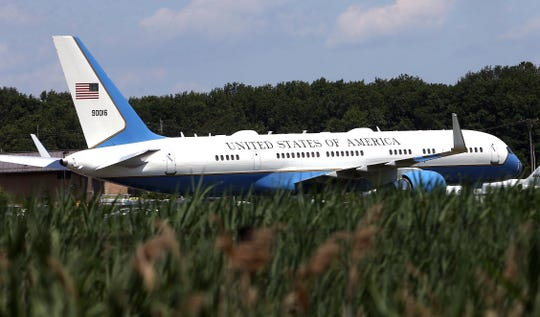 President Donald Trump, spending Independence Day weekend in New Jersey, flew Air Force One into Morristown Municipal Airport before heading to his Trump National Golf Club in Bedminster on Marine One. July 3, 2017. Hanover Twp, NJ.