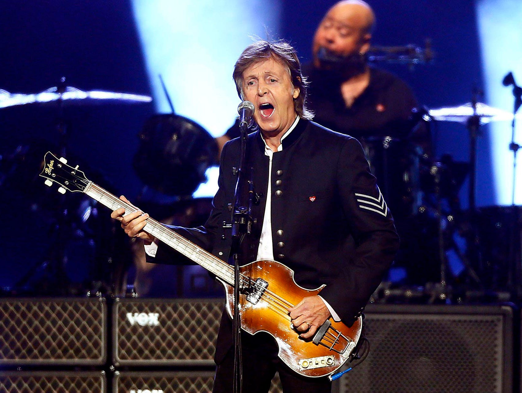 Paul McCartney plays his 2013 song, 'Save Us' during his One On One 2017 U.S. tour with his first-ever show at the Prudential Center in Newark NJ where he will play for two nights. September 11, 2017, Newark, NJ
