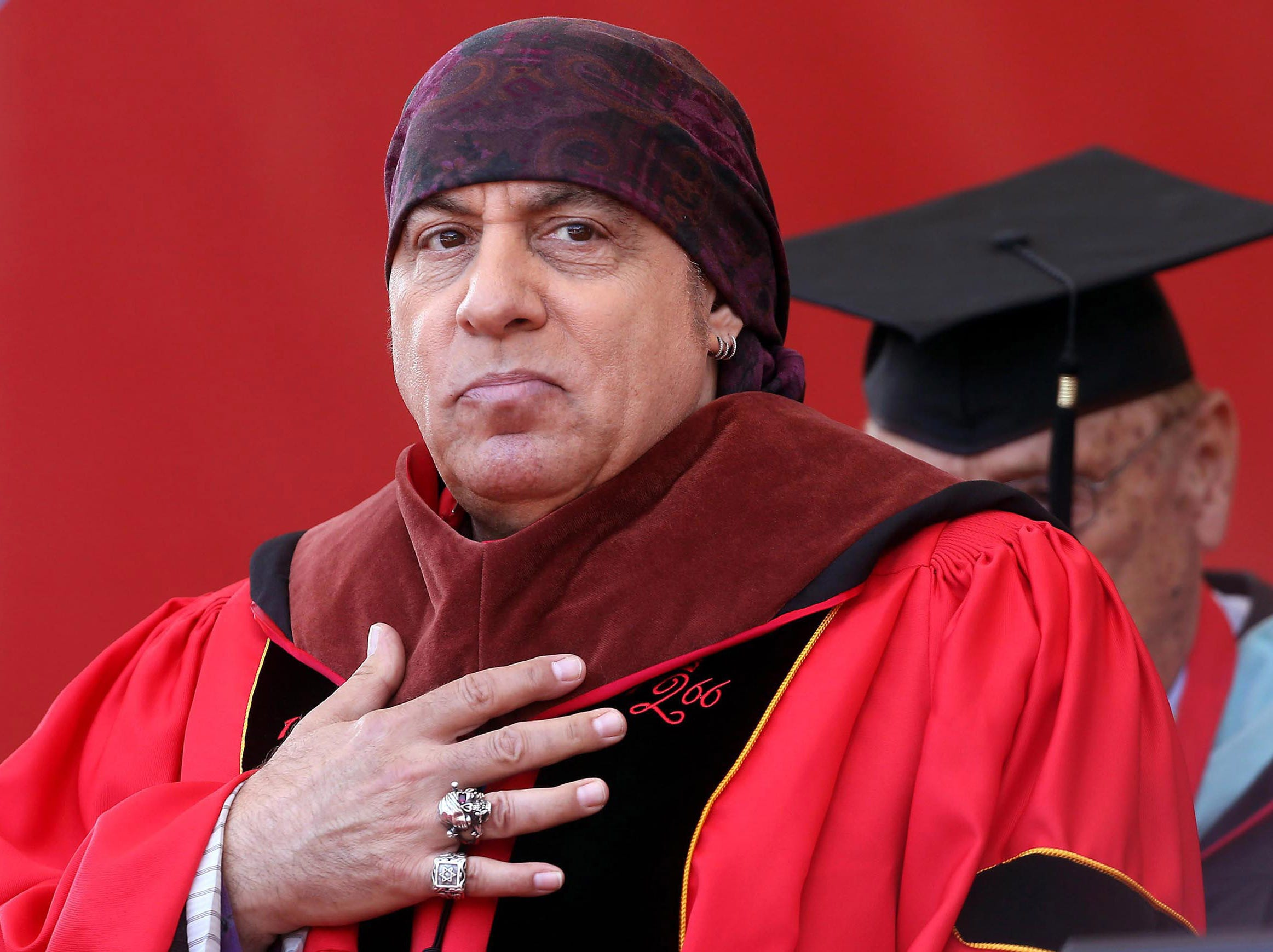 May 15, 2017--Steven Van Zandt receives his honorary Doctorate of Fine Arts hood at Rutgers University 251st Commencement held at High Point Solutions Stadium, Piscataway. The original member of the E Street Band, Van Zandt was the Keynote speaker.