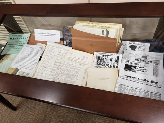 A display for information about the Todd House incident that made national