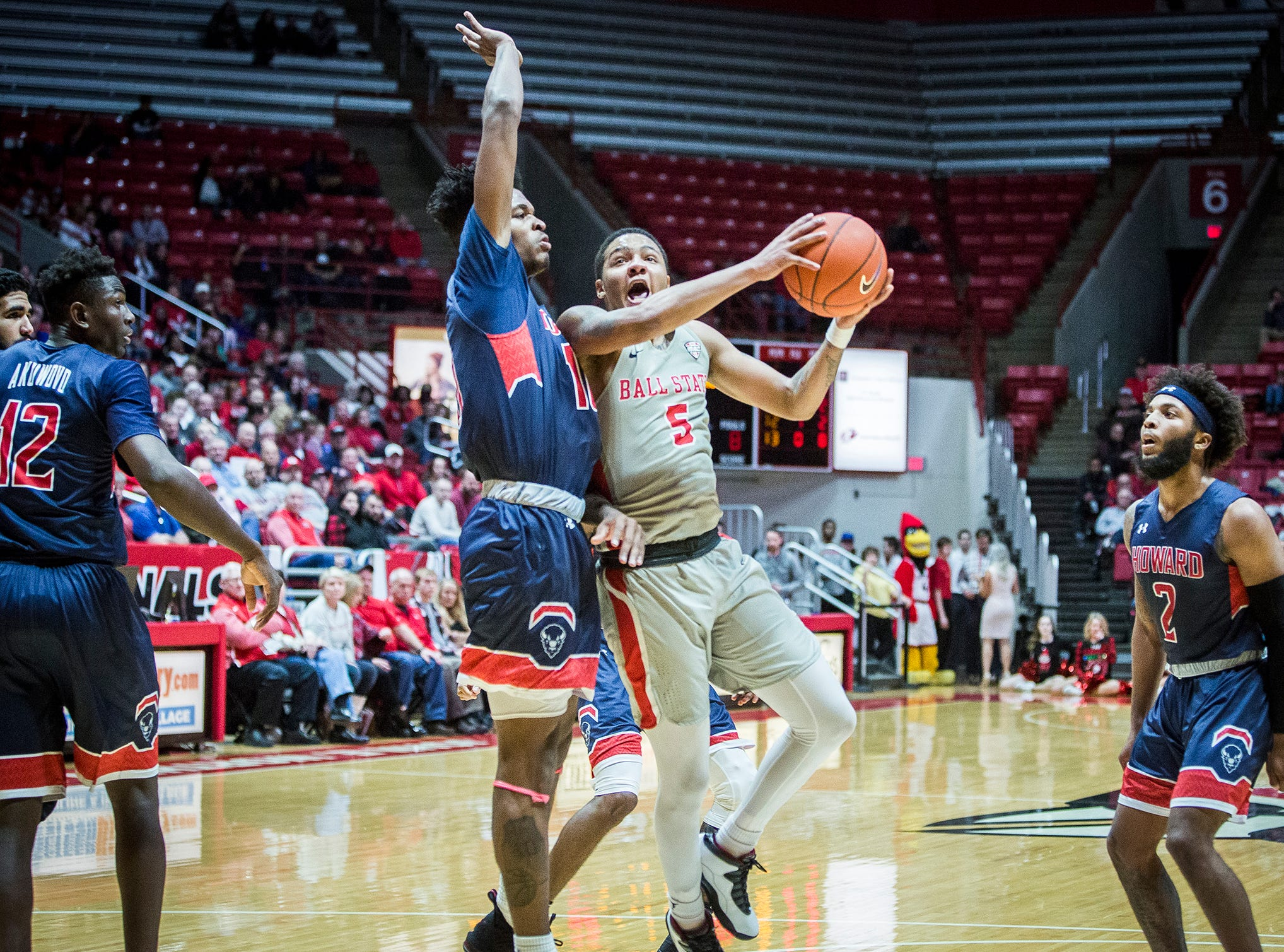 Ball State's Ishmael El-Amin drives against Howard during their game at Worthen Arena Thursday, Dec. 20, 2018.