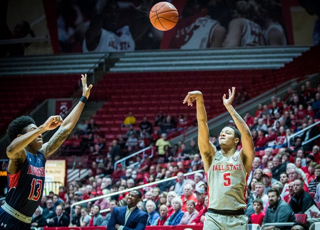 Ball State's Ishmael El-Amin shoots against Howard during their game at Worthen Arena Thursday, Dec. 20, 2018.