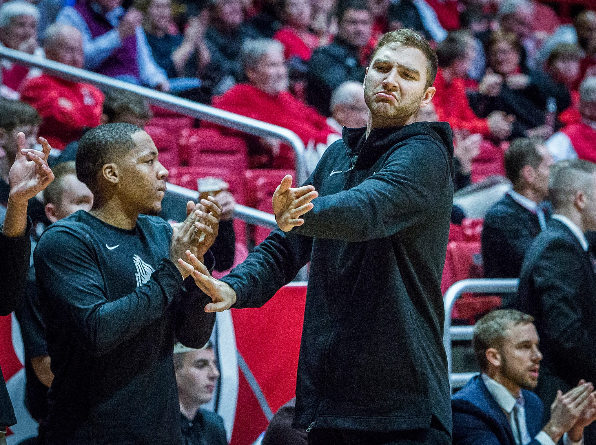 Ball State's Brachen Hazen, right, gestures during the game against Howard at Worthen Arena Thursday, Dec. 20, 2018.