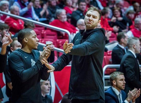 Ball State's Brachen Hazen, right, gestures during the game against Howard at Worthen Arena Thursday, Dec. 20, 2018.