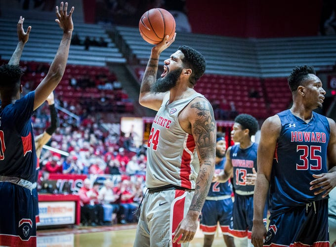 Ball State's Trey Moses celebrates pulling ahead of Howard during their game at Worthen Arena Thursday, Dec. 20, 2018.