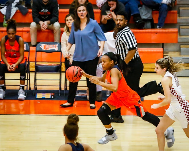 Blackman's Nia Vanzant drives upcourt during Thursday's 66-41 win over Tullahoma in the Outback Classic.