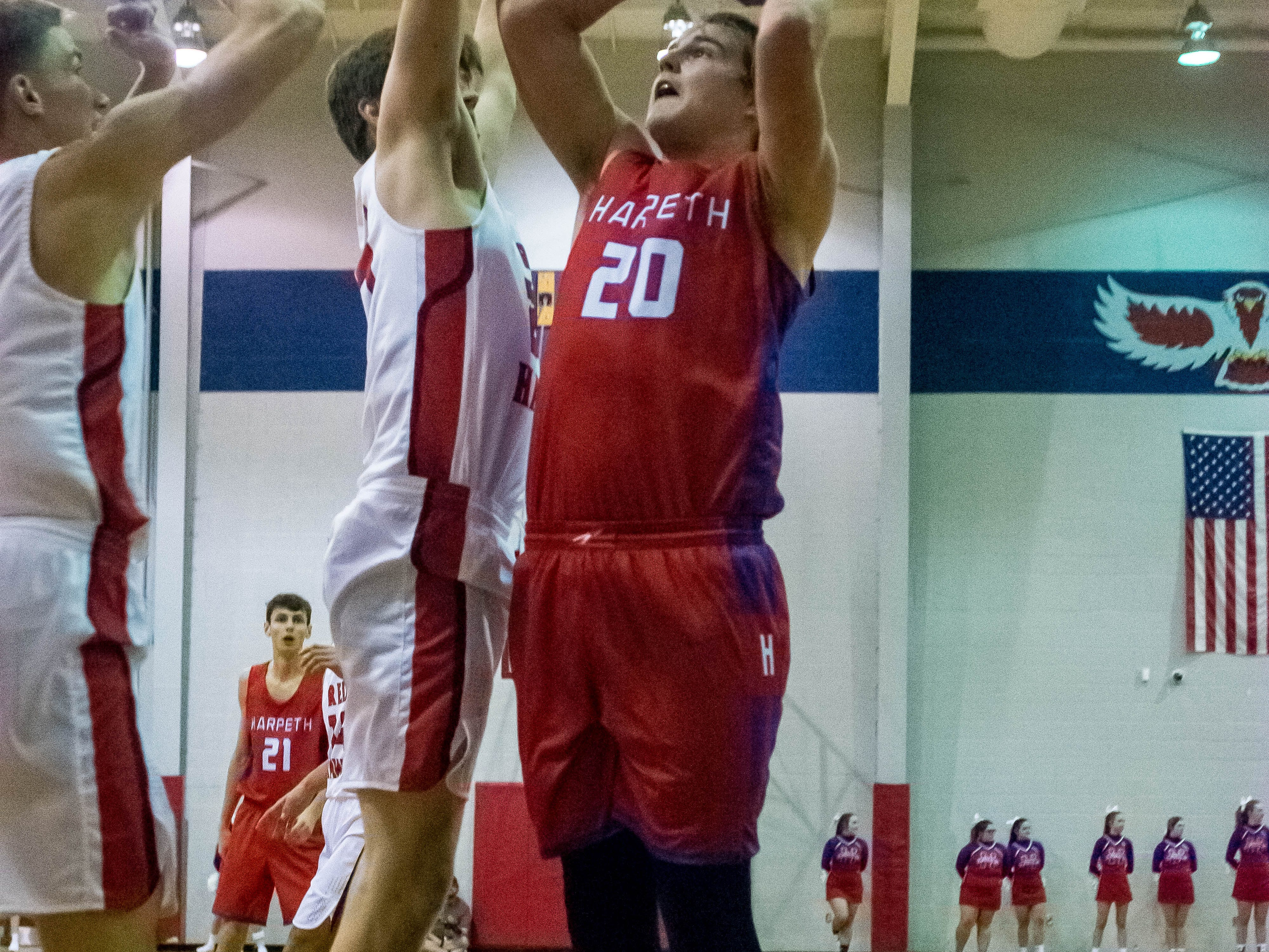 Harpeth Senior #20 Chace Taylor putting up a shot.