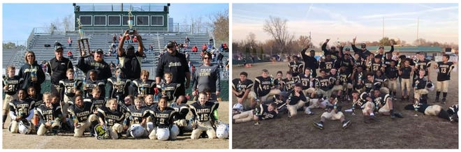 Winning Springfield junior league football teams are pictured with their trophies after the Super Bowl. On the left is the 5-7-year-old team and on the right is the 10-11-year-old team.