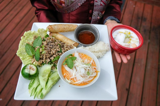 Gigamunch subscribers enjoyed the flavors of Laos, including Larb Gai, white rice, Kao Poon Soup, egg rolls and mixed fruit with coconut milk.