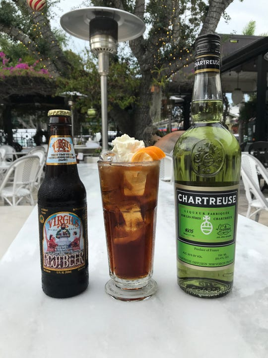 The Carthusian root beer is made with Green Chartreuse, root beer and a vanilla bean-whipped cream foam.