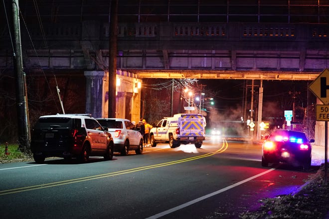 Police at the scene where a person was struck by a freight train near Windsor Road in Teaneck around 12:30 a.m. on Dec. 20, 2018.