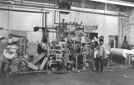 This undated photo shows the process machinists followed to make Bubble Wrap.