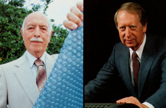 Marc Chavannes, left, and Alfred Fielding co-invented Bubble Wrap.