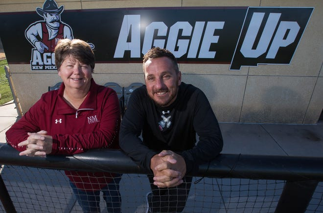 NMSU Softball Coach Kathy Rodolph and NMSU baseball coach Brian Green.