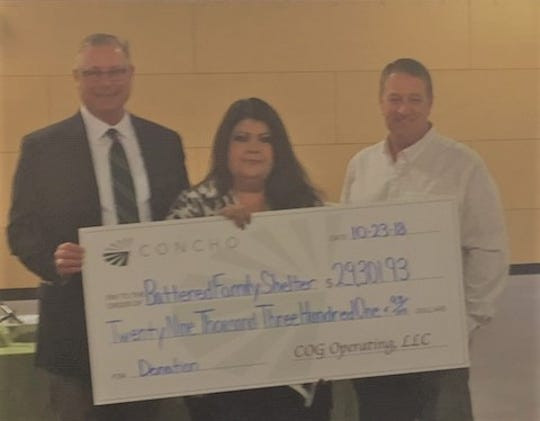 The Carlsbad Battered Family Shelter received a donation from Concho.