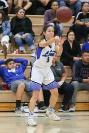 Cathedral City point guard Dominique Urbina makes a pass Thursday against Twentynine Palms.