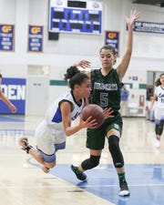 Cathedral City's Nina Wallace attempts to save the ball Thursday against Twentynine Palms.