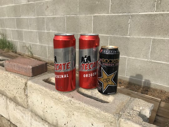 Some Tecate tall boys and a Rockstar Energy Drink in Cathedral City.