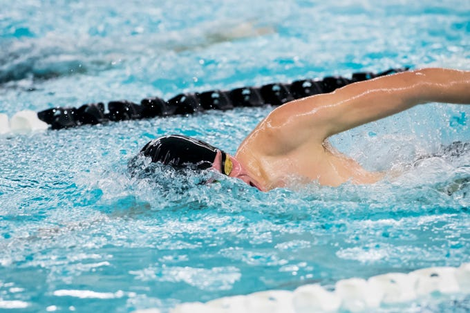 A swimmer competes in the boys' 200 free during a meet between Gettysburg and South Western at Emory H. Markle Intermediate School on December 20, 2018.