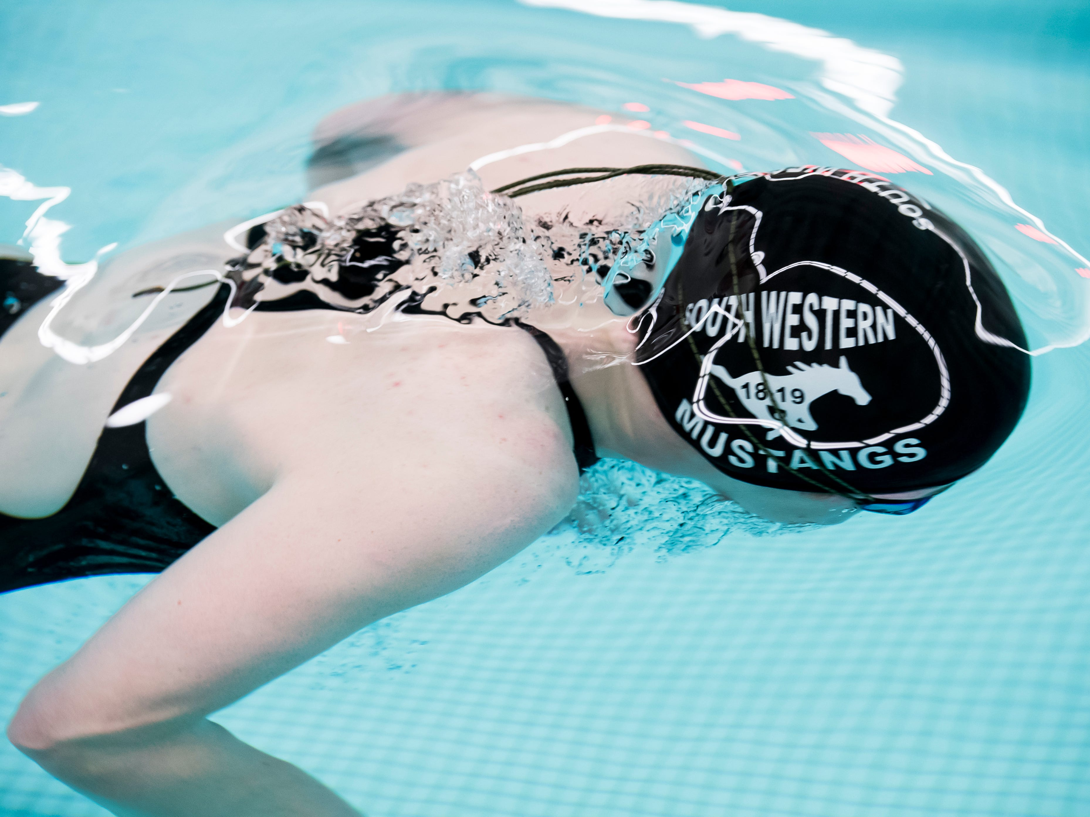 A South Western swimmer competes in the girls' 200 individual medley during a meet between Gettysburg and South Western at Emory H. Markle Intermediate School on December 20, 2018.