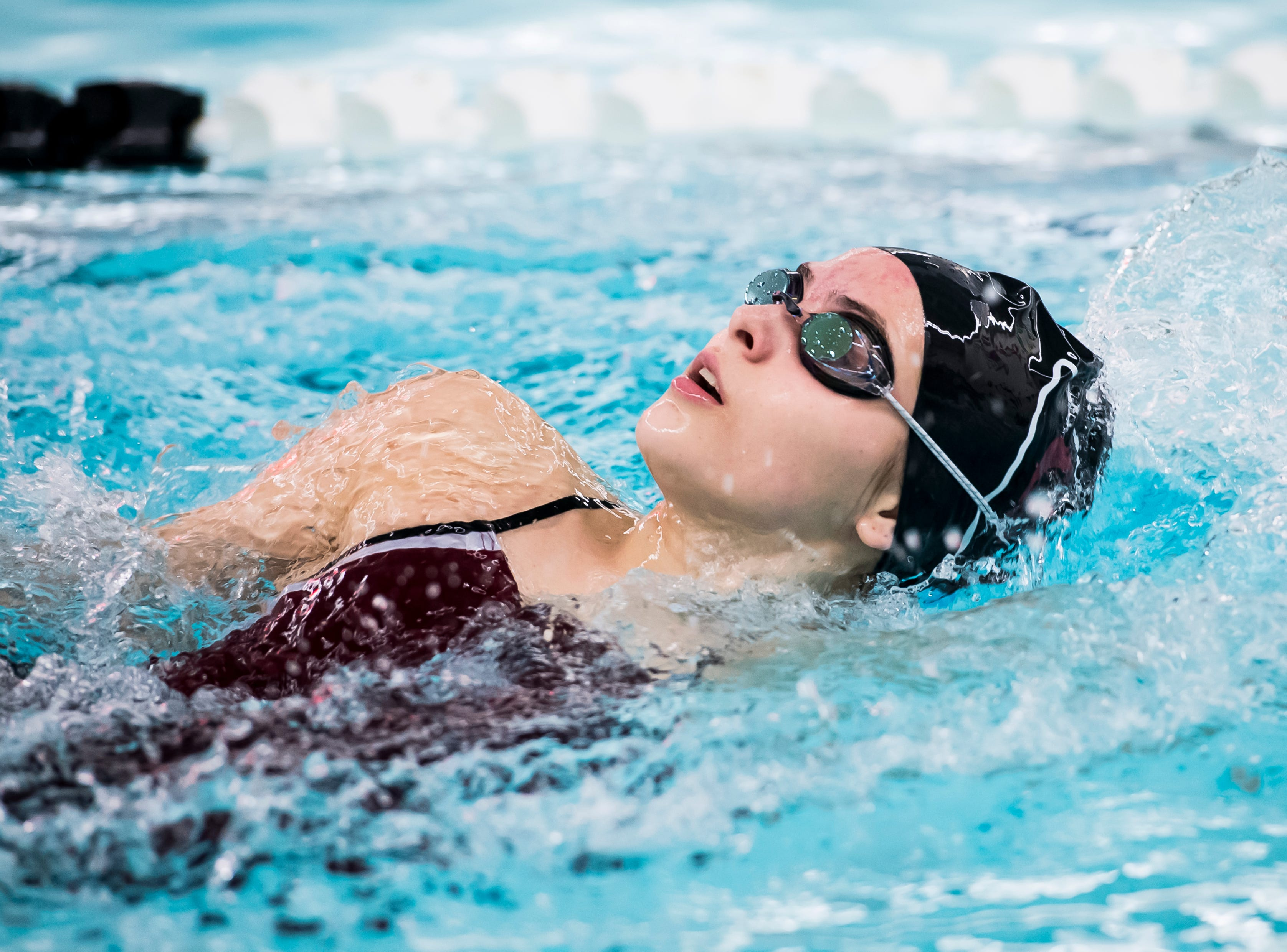 A Gettysburg swimmer competes in the girls' 200 individual medley during a meet between Gettysburg and South Western at Emory H. Markle Intermediate School on December 20, 2018.