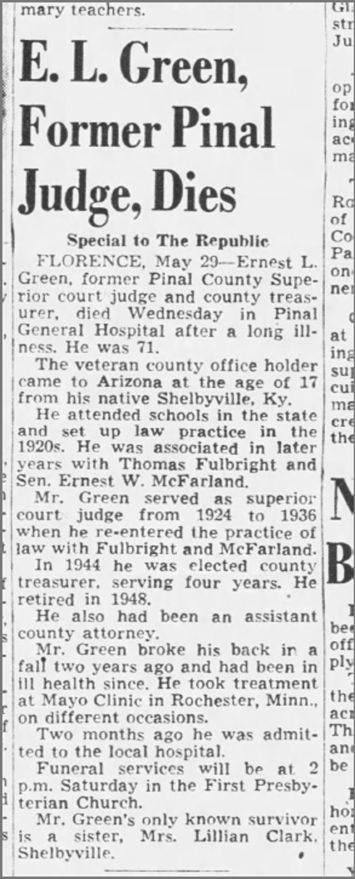 Obituary of E. L. Green, the judge who presided over the Hatbox Baby child abandonment hearing. He died in 1952, as published by The Arizona Republic that year on May 30.