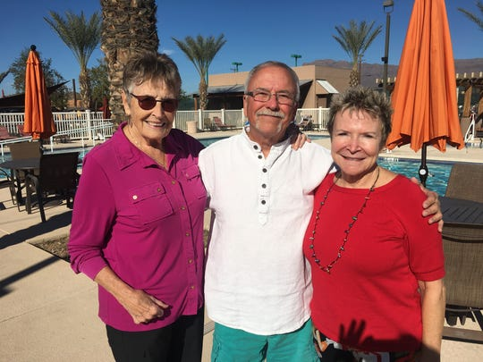 Gayle Burroughs (left), Dan Ratkowski and Cathy Callahan live in the Canyon Vistas RV Resort in Gold Canyon.