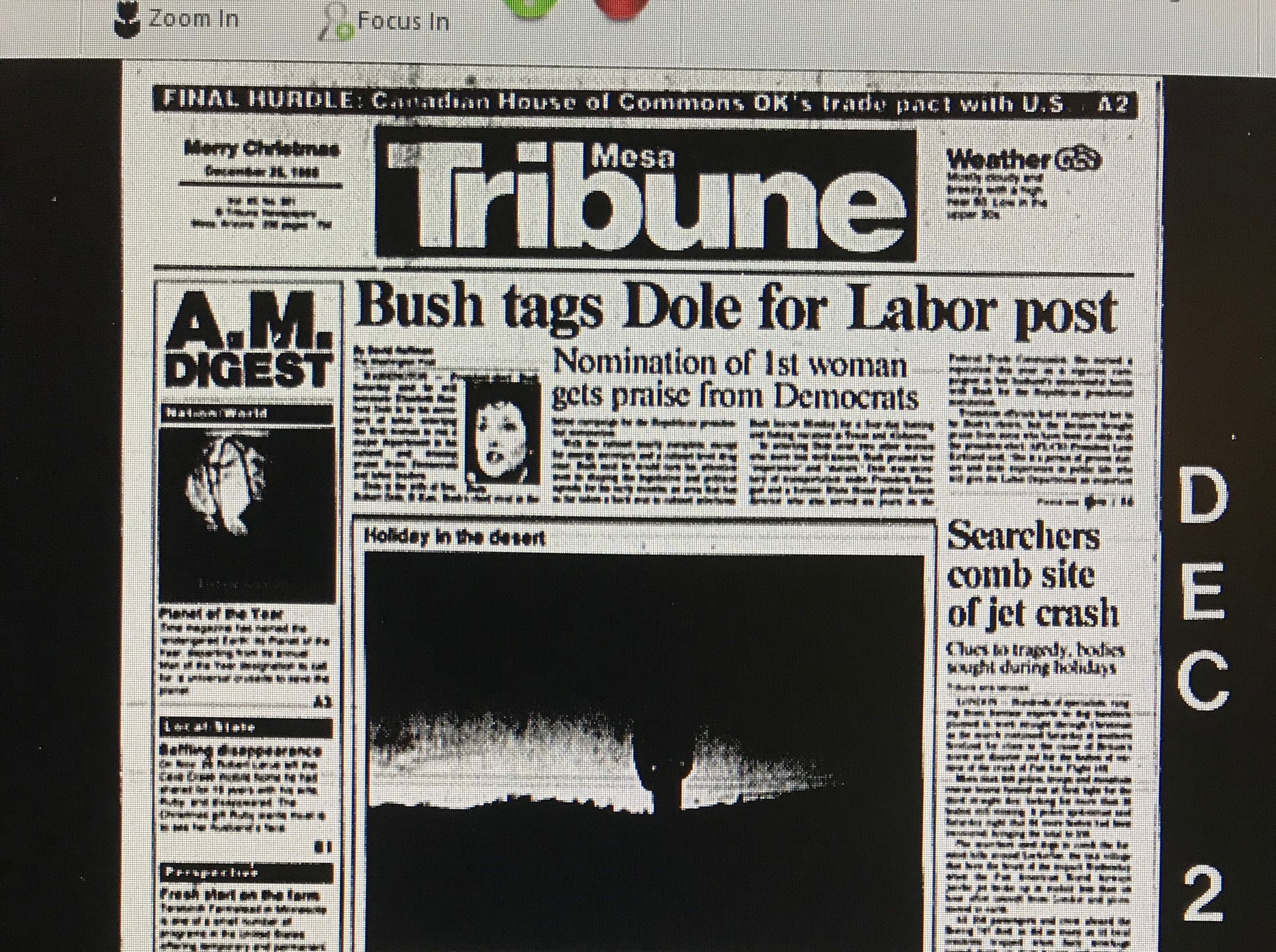 The front page of the Mesa Tribune's Dec. 25, 1988, edition featuring John D'Anna's first story on the Hatbox Baby.