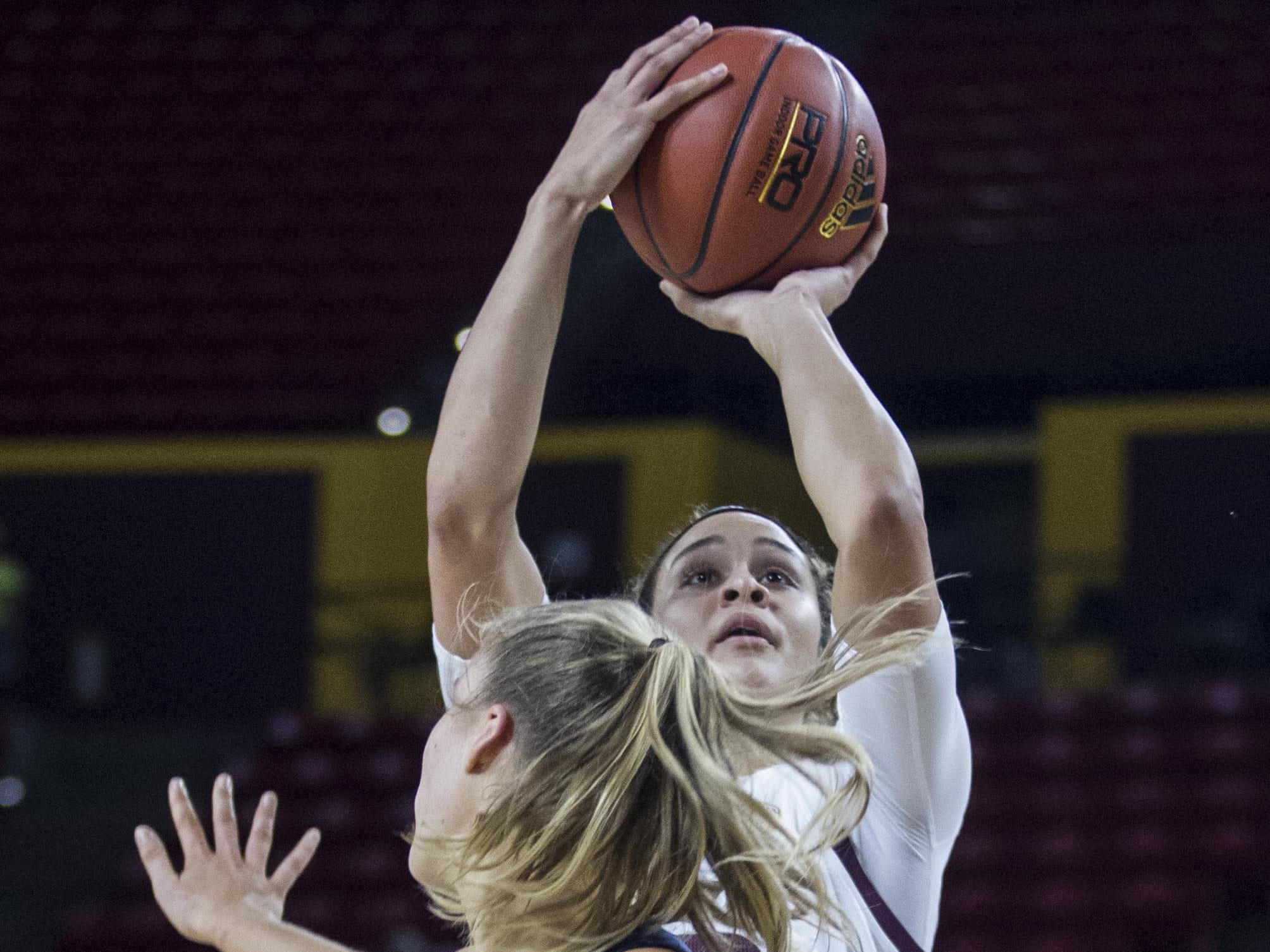 Arizona State's Kianna Ibis puts up a shot against Fresno State's Genna Ogier during the first half of their game in Tempe, Thursday, Dec. 20, 2018.