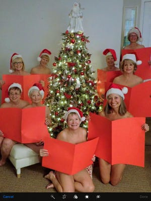 "Residents of Canyon Vistas RV Resort pose for the December 2019 page in their ""Calendar Girls"" calendar, which benefits cancer research."