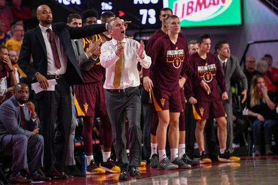Arizona State Sun Devils head coach Bobby Hurley (white shirt) reacts on the bench against the Georgia Bulldogs late in the game during the second half at Stegeman Coliseum Dec. 15, 2018 in Athens, GA.  Dale Zanine-USA TODAY Sports