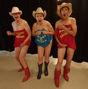 """Residents of the Canyon Vistas RV resort pose for the 2019 """"Calendar Girls"""" calendar to raise money for cancer research."""