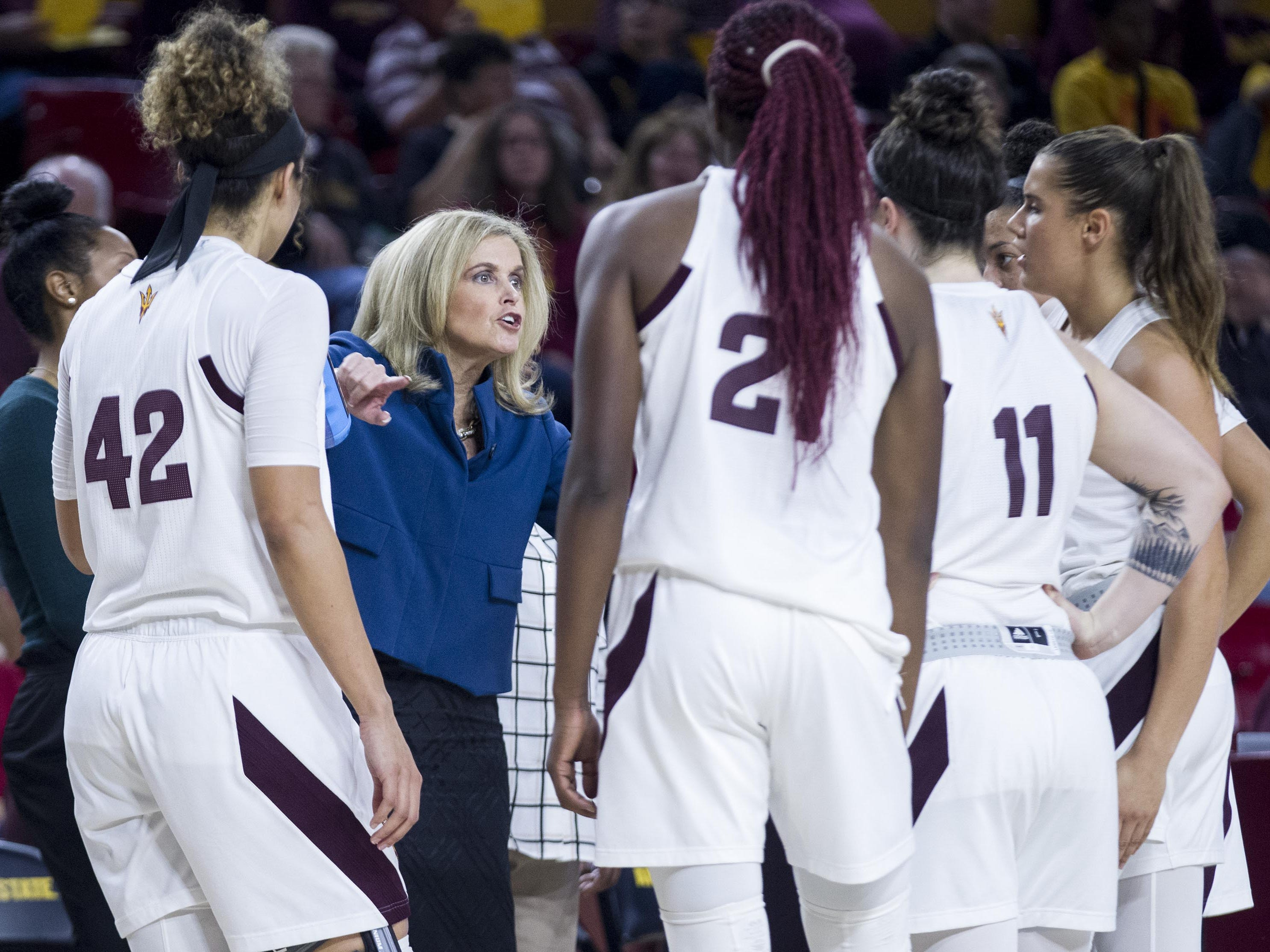 Arizona State head coach Charli Turner Thorne instructs her team against Fresno State's in the second half of their game in Tempe, Thursday, Dec. 20, 2018.