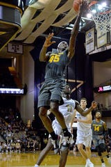 Dec 17, 2018; Nashville, TN, USA; Arizona State Sun Devils forward Zylan Cheatham (45) shoots against Vanderbilt Commodores forward Simisola Shittu (11) during the second half at Memorial Gymnasium. Vanderbilt won 81-65.  Jim Brown-USA TODAY Sports