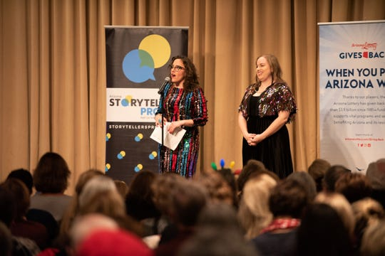 Co-Hosts Megan Finnerty and Kaila White get the crowd warmed up during the Arizona Storytellers Project Holiday Spectacular 2018 at the Arizona Biltmore  in Phoenix on Wednesday, Dec 18.