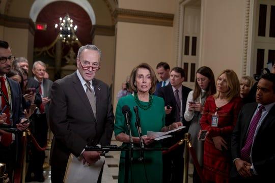Los líderes de la minoría en el Senado y la Casa de Representantes, Chuck Schumer y Nancy Pelosi.