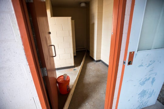 Upon completion, the River Rec Teen Zone in Marine City will have two bathrooms, offering homeless kids a washer, dryer and a shower. The floor will need to be lifted to see the system of pipes before it is installed.