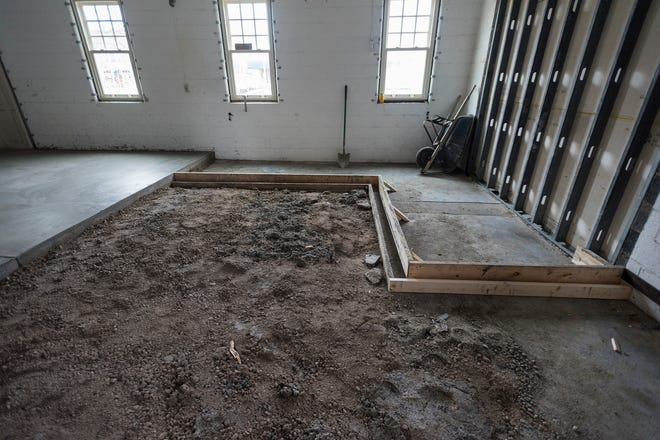 The floor in the River Rec Teen Zone's general room is being raised, and a wheelchair ramp is being installed to make the space ADA compliant.