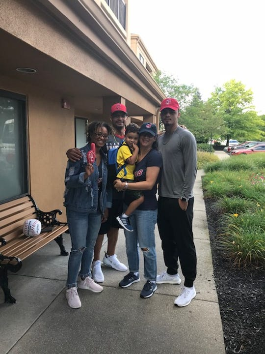 The Torres family poses outside the party the Cleveland Indians held for its 2018 draft picks. From left: Jalana Fuller, Lenny Torres Sr., Josiah and Torres, and Lenny Torres Jr.
